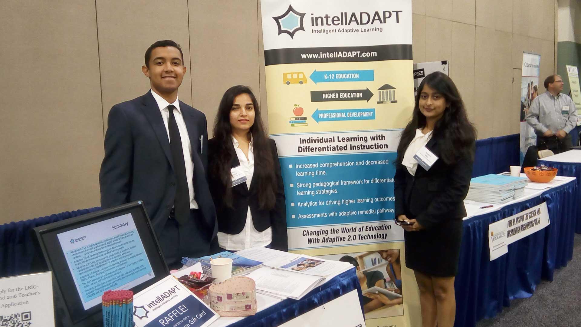 IntellADAPT team presenting adaptive learning solutions at the Exhibit Hall of Massachusetts STEM Summit 2016.