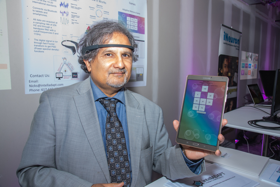 Dr. Nishikant Sonwalkar wearing brain wave headband